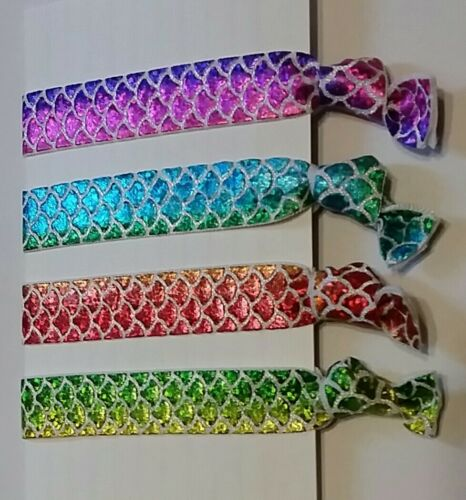 FOE Mermaid Tails Mermaid print 4 Elastic Hair Ties Band Ponytail Holder bow