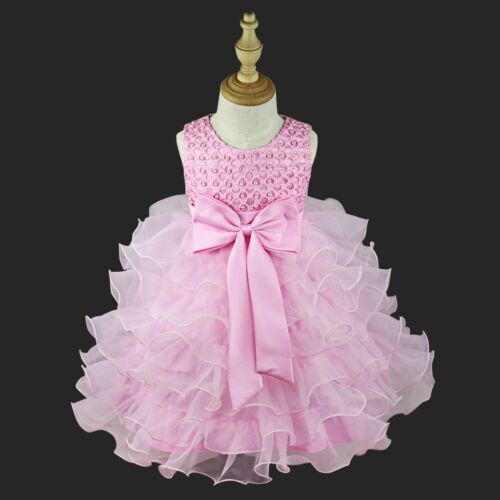 Flower Girl Dress Baby Wedding Princess Birthday Bridesmaid Party Bowknot Dress