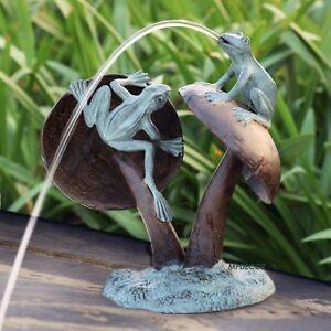 Image Is Loading Mushroom Frog Fountain Garden Water Sculpture Spitter Pond