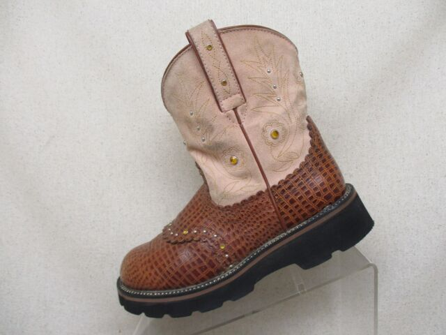 ARIAT Fatbaby Pink Suede Embossed Gator Studded Stockman Cowboy Boots Size 7 B