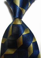 New Classic Patterns Blue Gold JACQUARD WOVEN 100% Silk Men's Tie Necktie