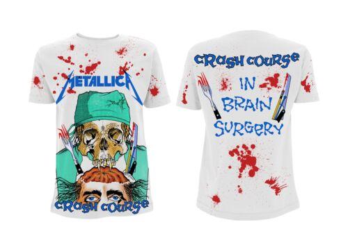 Official Men/'s White T-Shirt Crash Course In Brain Surgery Metallica