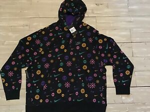 Men-s-Nike-NSW-Day-Of-The-Dead-Club-Black-Pullover-Hoodie-CU3516-010-Size-2XL