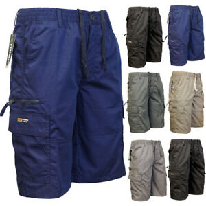 Mens-Elasticated-Waist-Casual-Bermuda-Combat-Cargo-Shorts-Work-Summer-Half-Pants