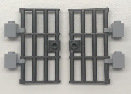 60621 Pearl Dark Gray 2 New Lego Jail Doors 1x4x6 Barred with Stud Handle Lot
