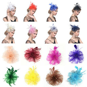 Women-Flower-Feather-Beads-Mesh-Corsage-Hair-Clips-Fascinator-Bridal-Hairband