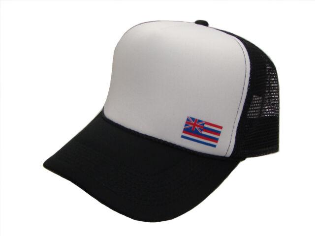 ec382dbde89 US Hawaiian Flag Adjustable Classic Mesh Trucker Cap Caps Hat Hats Black  White