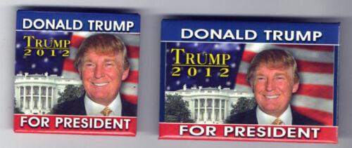 2 Donald TRUMP 2012 PRESIDENT pin White House US FLAG pinback OLDER