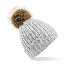 Ribbed Knit Beanie Chunky Winter Warm Woolly Bobble Ski Hat Mens Womens Fur Pom
