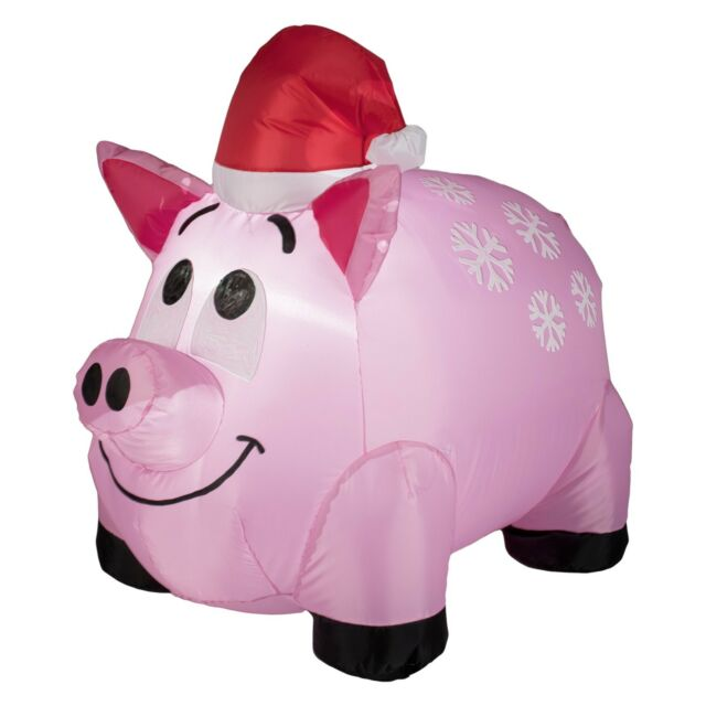 Christmas Pig.Snowflakes Pig Inflatable Gemmy Airblown Christmas Decoration Yard Decor Piglet