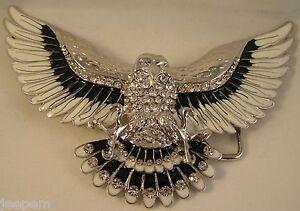 aigle-americain-Chrome-Noir-Email-Blanc-Bling-Strass-Boucle-ceinture-Fix-sa
