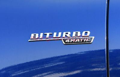2x Matt black V8 BITURBO Chrome Side Decal Badge Sticker for Mercedes-Benz  AMG