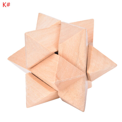 Hot IQ  3D Wooden Brain Teaser Burr Interlocking Puzzle Game Toy for Adults New