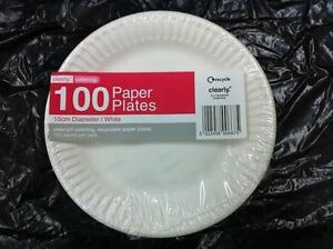 "1000 x Disposable Round White Paper Plates 6"" / 15cm"