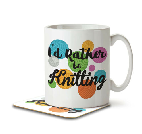 Mug and Coaster by Inky Penguin I/'d Rather Be Knitting