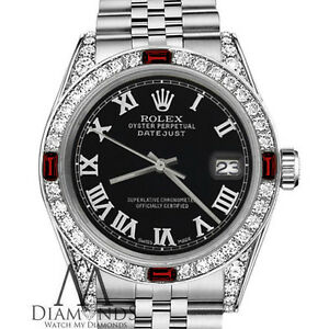 Womens Rolex 31mm Datejust Black Color Roman Numeral Dial Ruby