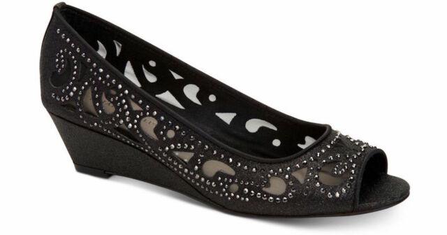 Charter Club Womens Cassiaa Peep Toe Wedge Pumps, Black, Size 9.5 QKB0