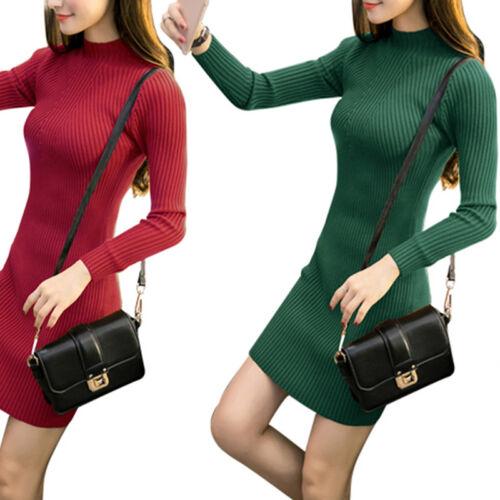 Women Fall Winter Slim Sweater Dress Bodycon Turtleneck Knitted Jumper Knit TES
