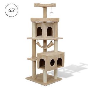 """Pawhut 65.2"""" Cat Tree Condo Scratching Post Furniture Scratcher House"""