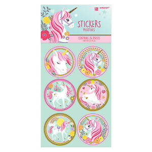UNICORN-PARTY-SUPPLIES-24-x-ASSORTED-STICKERS-WITH-MAGICAL-UNICORN-DESIGNS