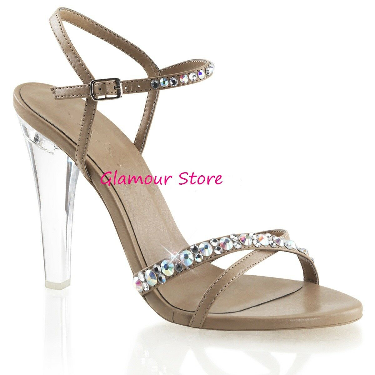 Sexy SANDALI STRASS tacco 11,5 dal 35 al 42 TORTORA/TRASPARENTE scarpe GLAMOUR