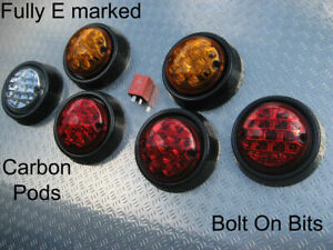 6-LED-Rear-Light-lamps-Carbon-Single-Pods-Kit-Car-Caterham-DAX-Westfield-Locost
