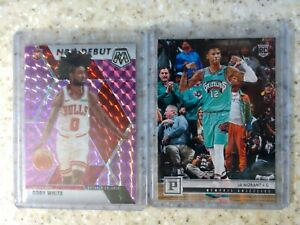 2019-Mosaic-NBA-Debut-Purple-Prizm-49-Coby-White-READ-amp-Ja-Morant-Panini-RC