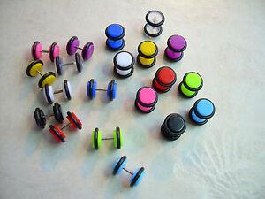 1 PAIR 16g 0g Look Neon Ear Plug Cheater Acrylic Black White ManyColors UPKCOLOR