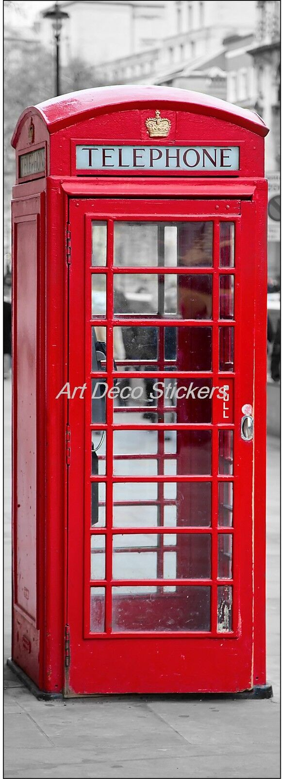Adhesivo de Puerta Trampantojo Trampantojo Cabina Telefónica Inglesa Ref 583