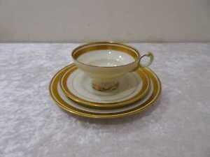 DDR Diseño VEB Reichenbach Porcelana Colección Vintage Um 1950/60 Borde Dorado