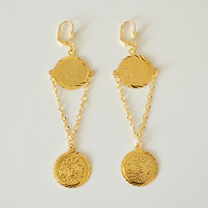 Image Is Loading Coin Earring Drop Dangle Middle East Arabic Jewelry