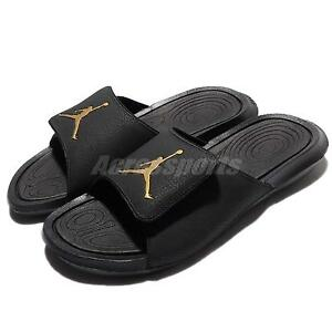 7a9b9a906b5 Nike Jordan Hydro 6 VI Black Gold Men Sandal Slides Slippers AJ6 ...