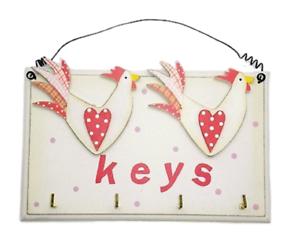 Chicken-Key-Hooks-Rack-Holder-Wooden-Cream-Red-Kitchen-Decor-Plaque-F0546
