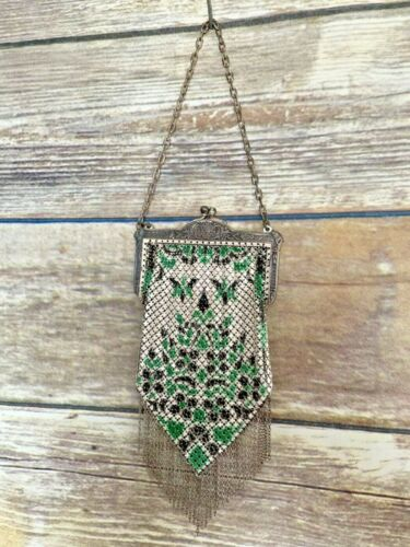 VTG Beautiful Antique Mandalian Mesh Purse Green … - image 1