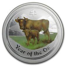 Perth Mint Australia 2009 $ 0.5 Coloured Ox Half 1/2 oz .999 Silver Coin