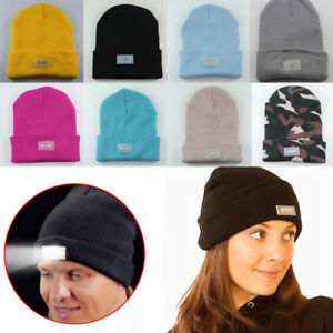 Unisex Fashion Knitted Beanie Hat With LED Light Warm Winter Outdoor ... 12e59befe225