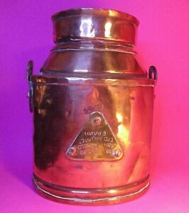 "Rare Russian Otto Muller Signed 1880 Copper Kerosene Pail ""Miracle Lamp"" w logo"