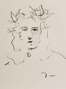 JOSE-TRUJILLO-Original-Charcoal-Paper-Sketch-Drawing-9X12-034-PORTRAIT-FLOWERS