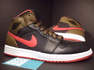 3cd36a0e4a6 2012 Nike Air Jordan I Retro 1 PHAT BLACK GYM RED OLIVE WHITE BRED ...