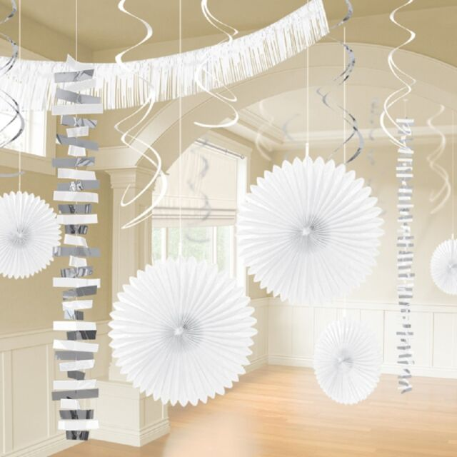 18 x White Hanging Paper & Foil Party Decorations White Party Wedding Decorating