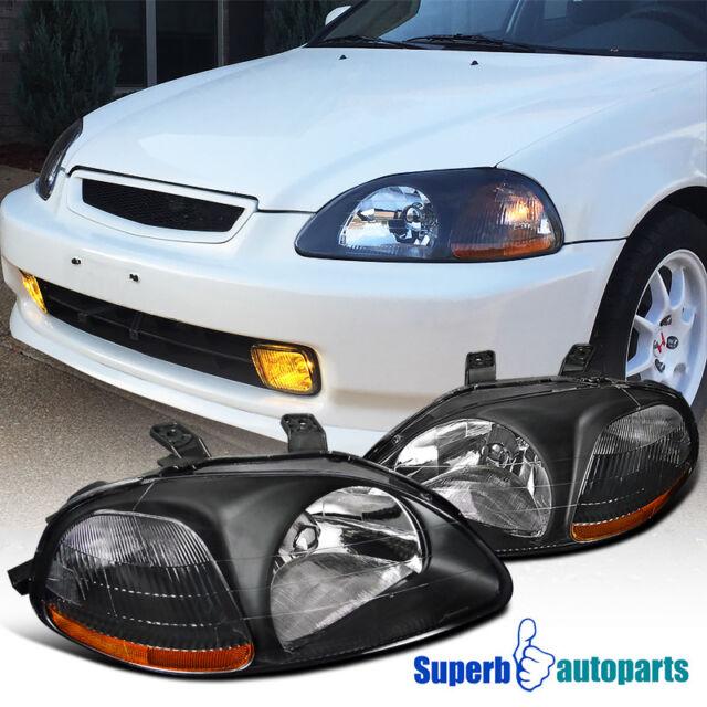 Wonderful For 1996 1998 Honda Civic JDM Crystal Head Lights Lamps Black