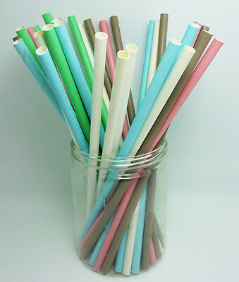 50 PCS Monochrome Single Color Paper Straws Drinking Straws For Wedding Party