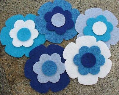 10 Wool Blend Die Cut Applique Flowers - Aqua Summer