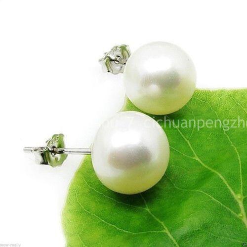 Véritable 10 mm blanc eau douce Akoy Shell Pearl Argent Clous d/'oreilles AA