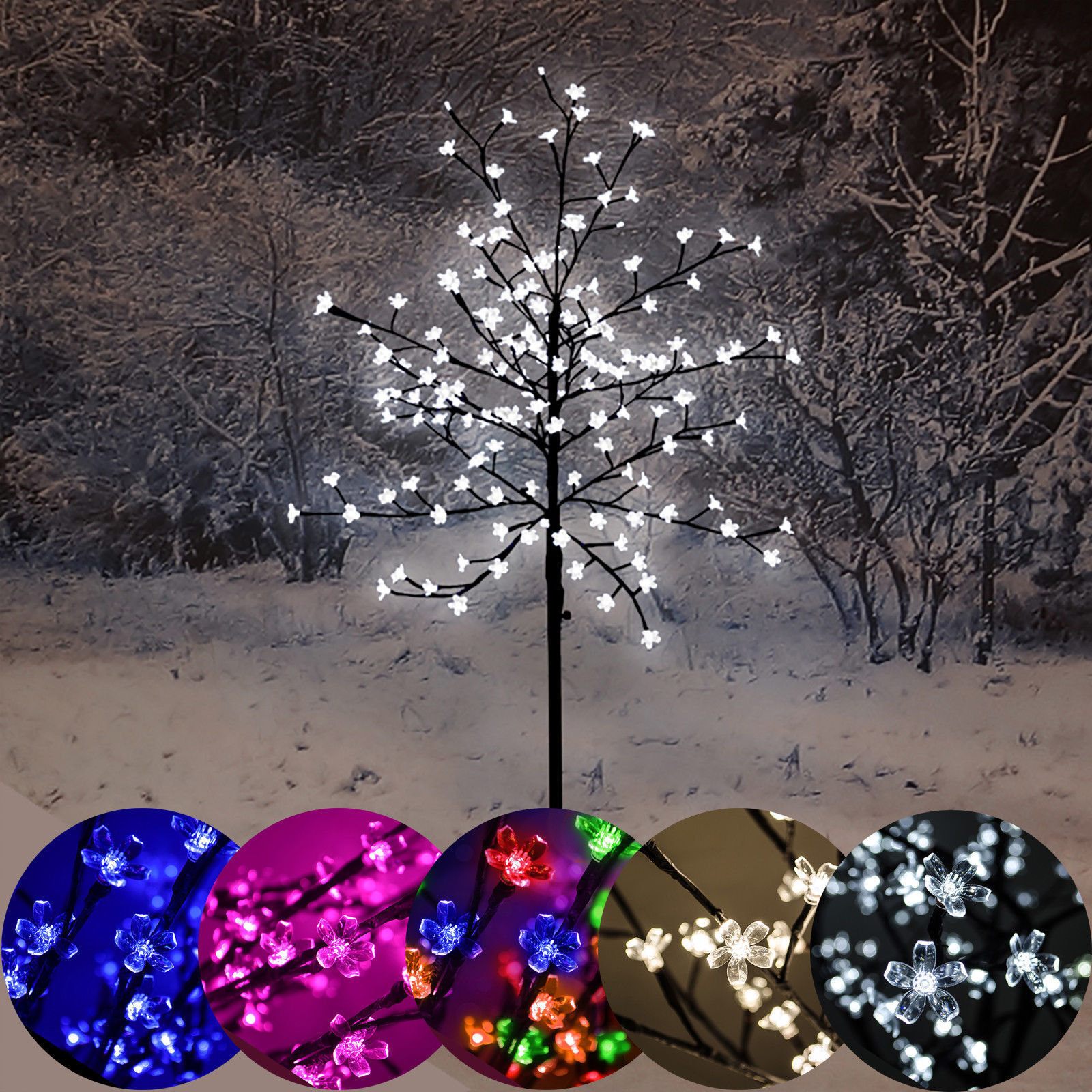 5 ft (approx. 1.52 m) 1.5 M LED Flor De Cerezo árbol Navidad 150 Luces al aire libre Interior