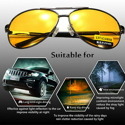 UV400 Polarized Yellow Lens Sunglasses Night Driving Vision Glasses Eyewear