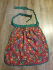 Adorable-Christmas-Half-Apron-Handmade-Vintage-Red-Green-White-Checked-Pattern