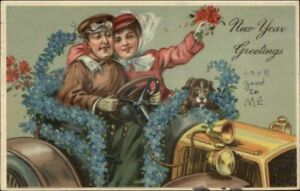 New-Year-Happy-Couple-Driving-Car-Smoking-Cigarette-Embossed-Postcard
