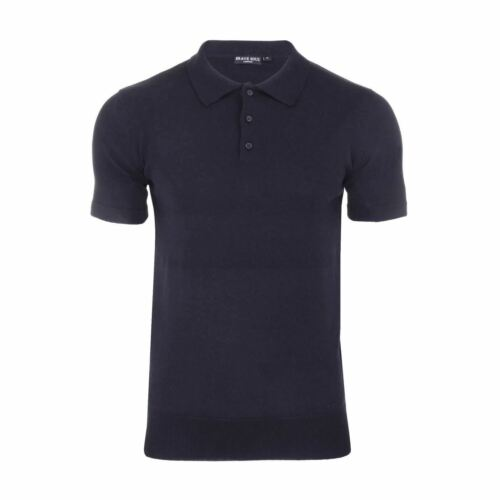 Mens Knitted Polo Jumper T Shirt By Brave Soul Columbus Collared Short Sleeve