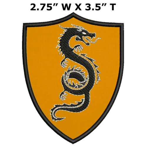 Chinese Dragon Medieval Coat of Arms Embroidered Hook and Loop Applique Patch